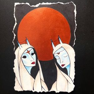 """Gemini"" Zodiac Moon Spirit Art Print 5"" by 7"""